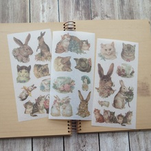3 sheets Hand-painted animals rabbit washi Paper sticker as Scrapbooking DIY gift packing Label Decoration Tag party
