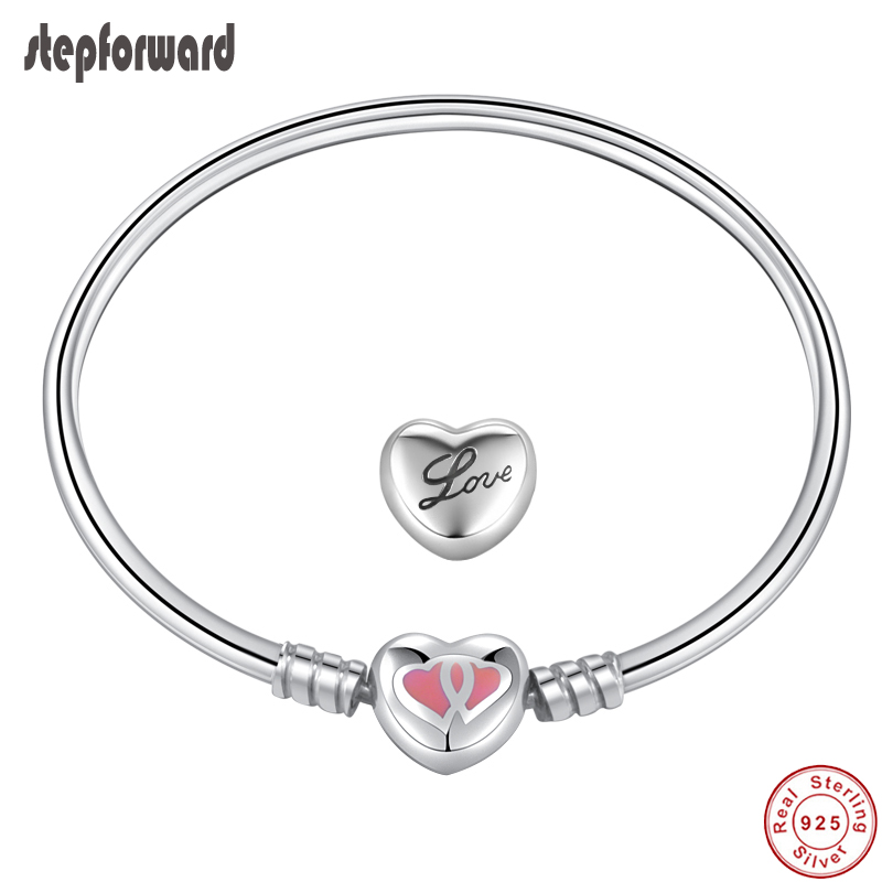 Original Good Quality Popular Pink Double Heart Enamel 925 Sterling Silver Love Forever Heart Clasp Charm Bracelet And Bangle