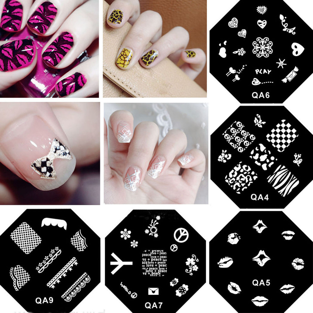 Nail art Stamping Stempel Platten Vorlage Set 2 Stil Nagel polnisch ...