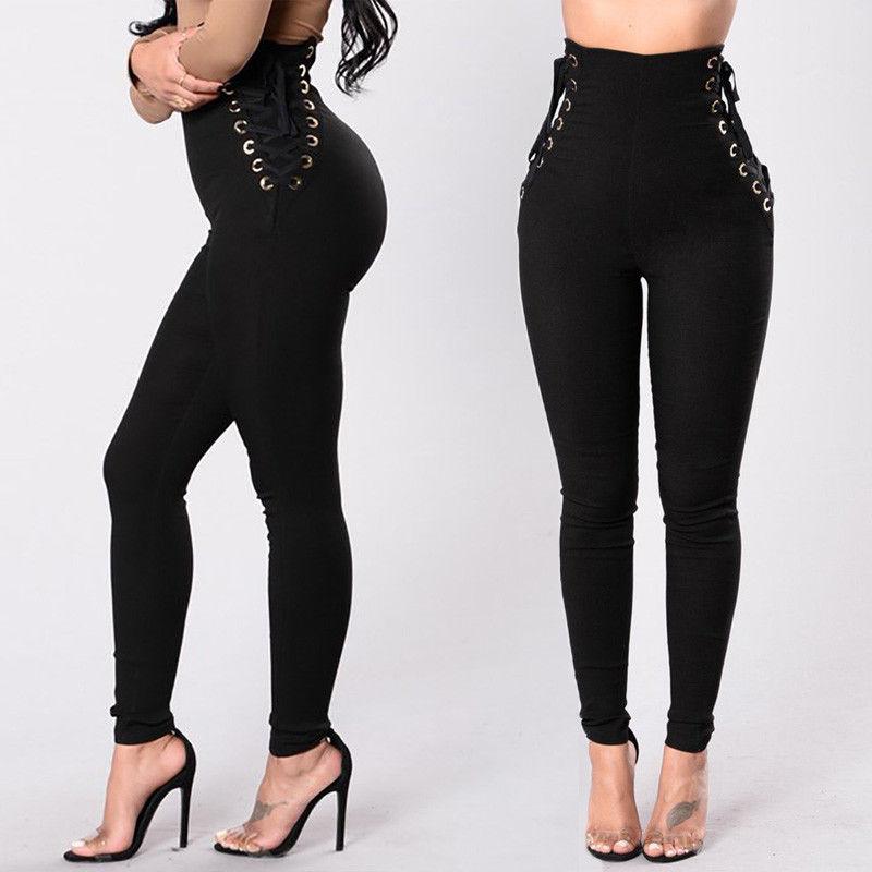 Women Bandage Elastic Waist Pants Fitness Leggings High Waisted Long Pants Stretch High Waist Pants Trousers