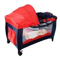 1pcs Foldable Toddler Baby Bed Crib Portable Infant Bed Toddler Kids Cot Play Crib Portable baby nursery Kid Beds HWC