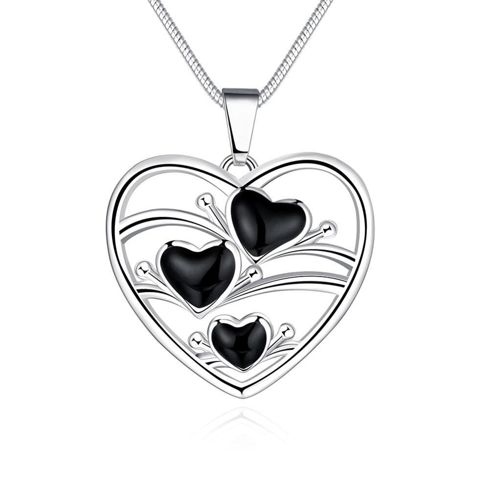 Benzersiz gümüş femme chaine büyük kalp hree küçük siyah petrol damla kalp kolye yılan kolye kadın kızlar düğün takı