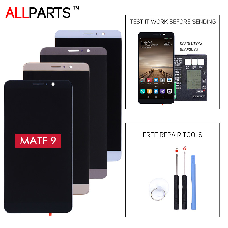 For HUAWEI Mate 9 LCD Tested AAA 5.9 inch Display For HUAWEI Mate 9 LCD Touch Screen with Frame Assembly Replacement Parts replacement original touch screen lcd display assembly framefor huawei ascend p7 freeshipping
