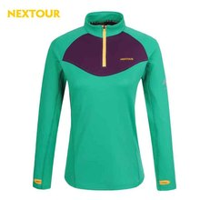 NEXTOUR  Quick-dry T-shirt with pollar fleece Long-sleeve T-shirt womanAnti-sweat  Hiking running riding winter clothes