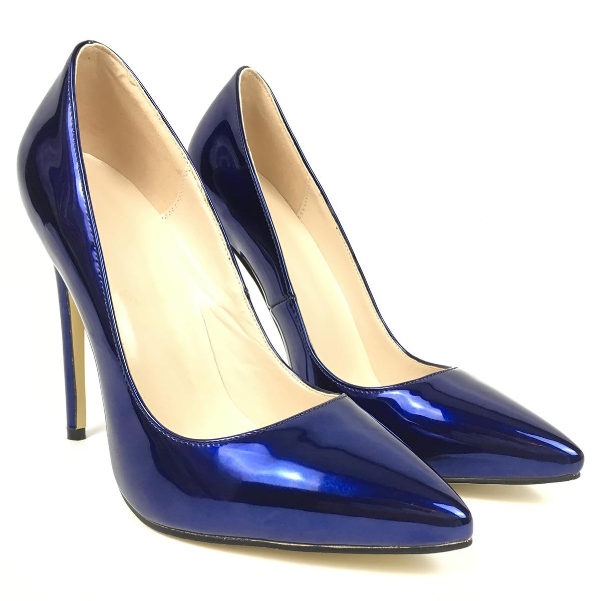Bombas La Alto Clubwear Primavera De Charol En 2019 Resbalón Punta Vestido Cuero Mujeres Moda Aiyoway Azul Zapatos Las Puntiaguda Tacón Fiesta 57qAww