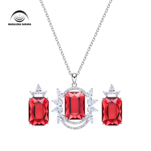 MADALENA SARARA AAAA Austria Synethic Quartz Inlaid Fashion Women Jewelry Set Necklace And Earrings  elegance