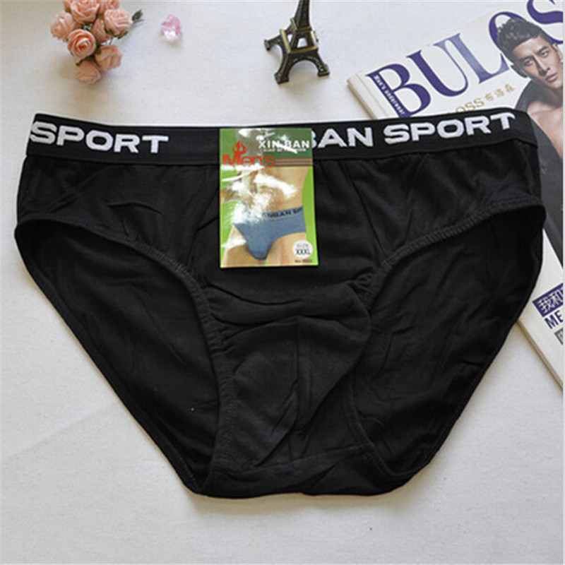Free Shipping Solid Color Mens Underwear Plus Size Cotton UnderpantsLY5022