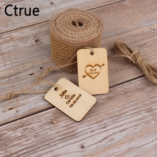 6PC Custom Personalized save the date Wood wedding Gift favor tags Bridal Shower Love Favor Tags With Rope garland