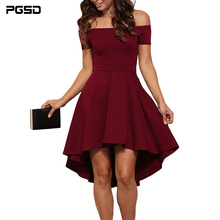 PGSD New Summer Simple Fashion Womens Clothes Short sleeves sexy exposed shoulders Off ShoulderBig swallow tail irregular Dress