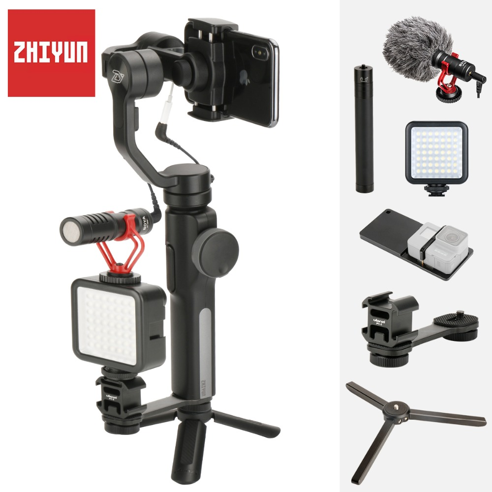 Zhiyun Liscia Q 4 Giunto Cardanico Handheld 3-Axis Stabilizzatore per iPhone X 7 Plus Samsung S8 PK Osmo Mobile 2 con BY-MM1 HA CONDOTTO LA Luce Gopro