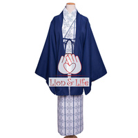 Japanese Men Winter Hotspring Blue Kimono Yukata Traditional Cosplay Costume