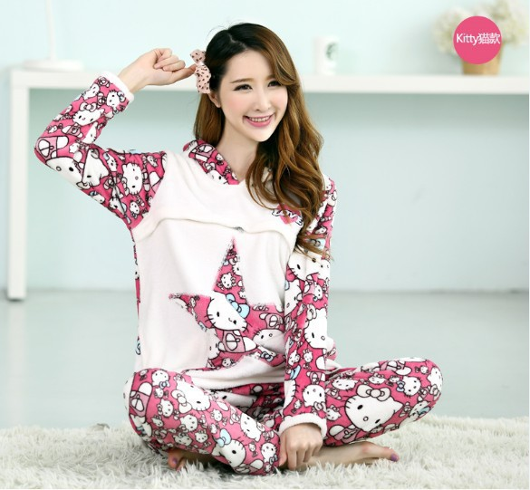 2016 Cotton Broadcloth Full Solid Suit Home Furnishing Pregnant Women Breastfeeding Set Wholesale Direct Winter Pajamas