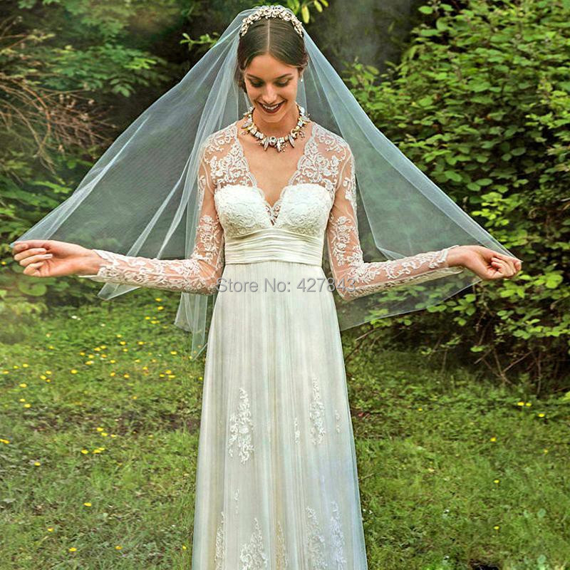 3Simple A Line Lace Long Sleeves Bohemian Wedding Dress Backless Chiffon Boho Summer