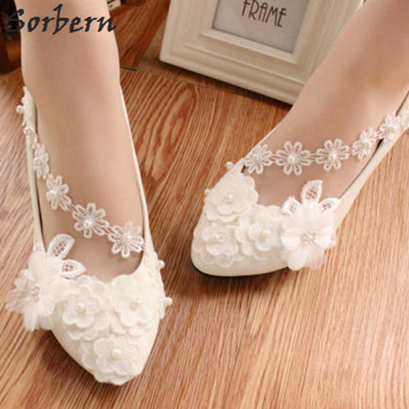 Sorbern Lower Heels Wedding Shoes For Bridal Ladies Party Pumps 2018  Handmade Lace Applique Beads Real Shoes Kitten Heels Pumps-in Women s Pumps  from Shoes ... c498d90a7e5f