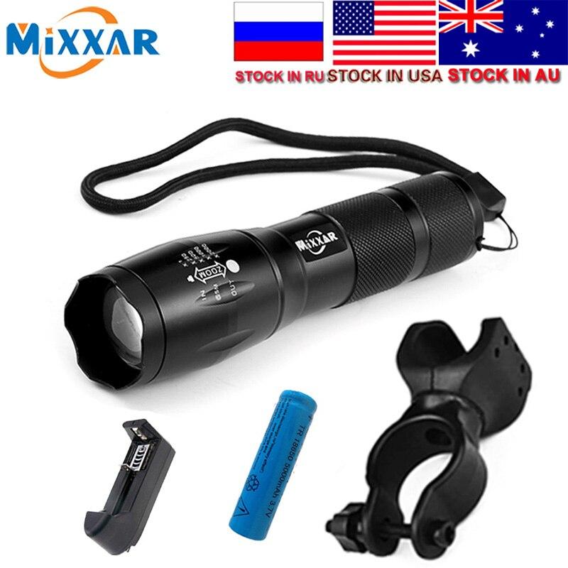 MTB LED Fahrrad Licht Taschenlampe T6 8000LM LED Taschenlampe Zoomable-led Taschenlampe Für Camping Laterne 18650 5000 mah Batterie