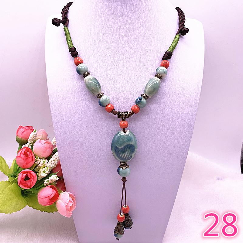 Fashion Ethnic Jewelry Traditional Handmade Ornaments Weave Wax Rope Ceramics Necklace Ceramics Beads Pendant Long Necklace A in Pendant Necklaces from Jewelry Accessories