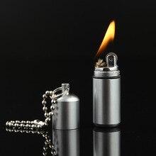 Free Shipping Portable Kerosene Lighter Key Chain Capsule Flint Gasoline Lighter Inflated Keychain Petrol Lighter Grinding Wheel