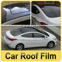 3 Layers Car Roof Film Skylight Sticker Glossy Black Film With Air Bubble Free Size:1.35*15 m/roll