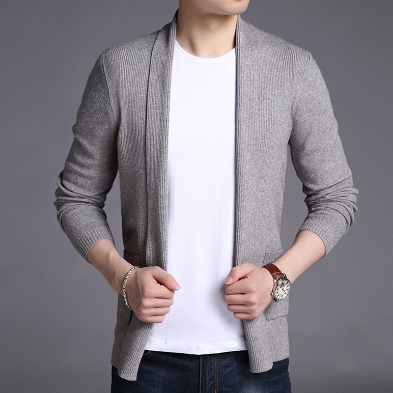 2020 New Fashion Brand Sweater For Mens Cardigan Long Slim Fit Jumpers Knitred Woolen Autumn Korean Style Casual Men Clothes