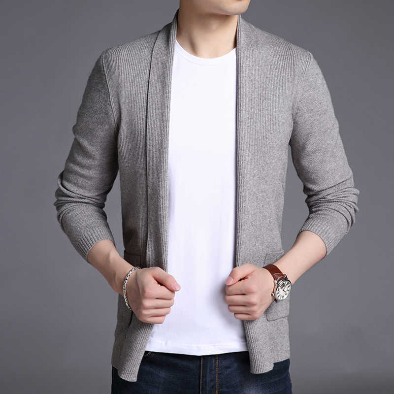 2020 Nieuwe Mode Merk Trui Voor Heren Vest Lange Slim Fit Jumpers Knitred Wollen Herfst Koreaanse Stijl Casual Mannen Kleding