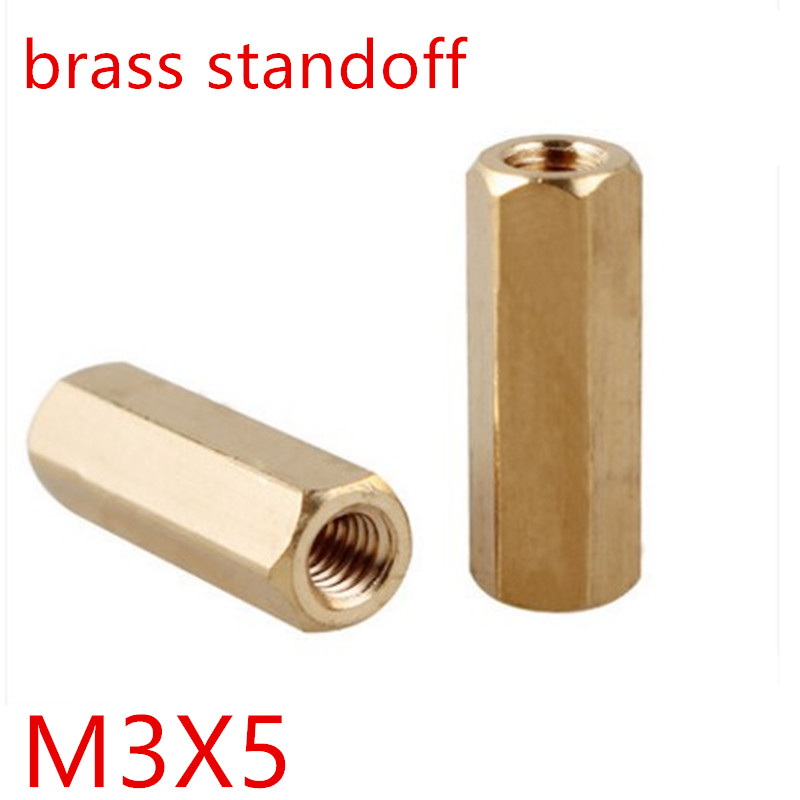 50pcs/lot <font><b>M3</b></font>*4 <font><b>m3</b></font> x <font><b>5mm</b></font> Female Female Thread Brass Standoff Spacer Spacing <font><b>Screws</b></font> Hex Brass Threaded Spacer image