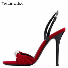 цены Handmade Brand High Quality Woman Sandals Women Shoes Rhinestones High Heel Open Toe Slingback Velvet Summer Ladies Sandals 2019