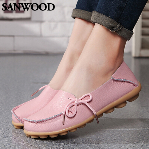 2016 Fashion Product Fashion Women Leather Slip on Flat Shoes Moccasin Bow Casual Loafer Boat Shoes 9R3W 2016 men s casual crocodile genuine leather boat shoes slip on velvet loafers moccasin fashion flat shoes men s loafer shoes new