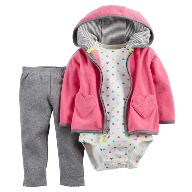 3pcs/ Pack Baby Boys Girls Clothing Sets Long Sleeved Coat + Bodysuits + Pants Winter Autumn Spring Fleece Jackets Jumpsuits V30