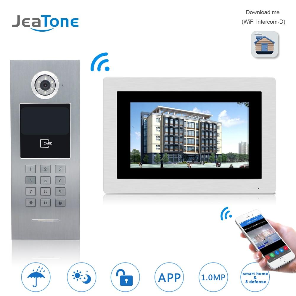 7'' WIFI IP Video Door Phone Intercom Wireless Door Bell Building Security Access Control System Touch Screen Password/IC Card
