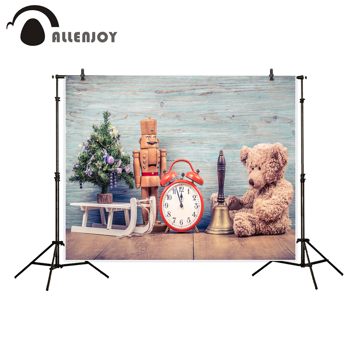 Allenjoy kids background for photography new year tree bear toy bronze bell vintage clock wood sleigh wall backdrop photocall