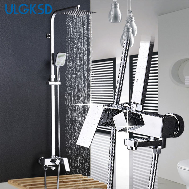 ULGKSD Chrome Shower Faucet 8'' Head 360 Swivel W/ Hand Shower Wall Mount Bathroom Shower Set Cold Hot Water Mixer Tap For Bath
