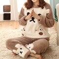 Pijamas de Manga longa Pijamas Conjuntos de Pijama de Flanela Mulheres Espessamento Quente Urso Bonito Sleepwear Homewear Da Ásia/Tag Tamanho M-XL