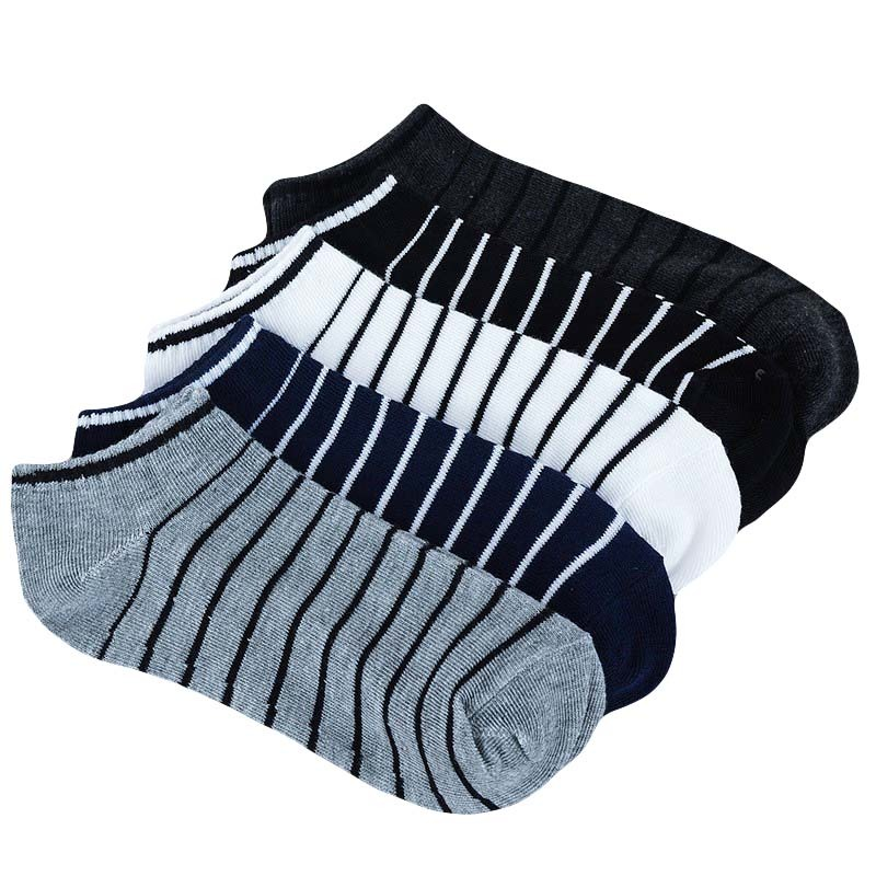 Men Sock 10 Pieces =5 Pairs /lot Package Male Summer Light Socks Stripe Cotton Short Sock Wholesale Couples Socks Sale