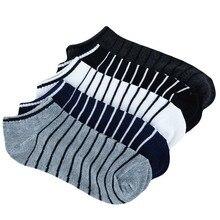 Men Sock 10 pieces 5 Pairs lot Package Male Summer Light Socks Stripe Cotton Short Sock