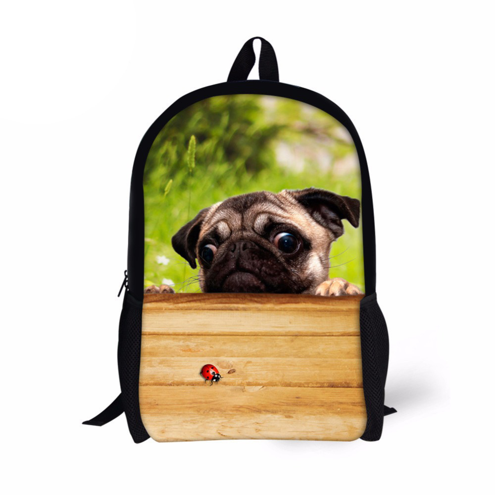 Children Backpack Pug Bulldog Print School Bag 16 Inch Primary Schoolbag for Kids Girls Teenagers Campus Rucksack Mochila