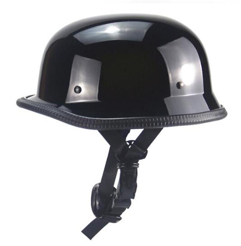 New Gloss Black German Style Motorcycle Helmet Retro Vintage Half Helmet Scooter Chopper Cruiser Touring Casco Moto Helmet DOT