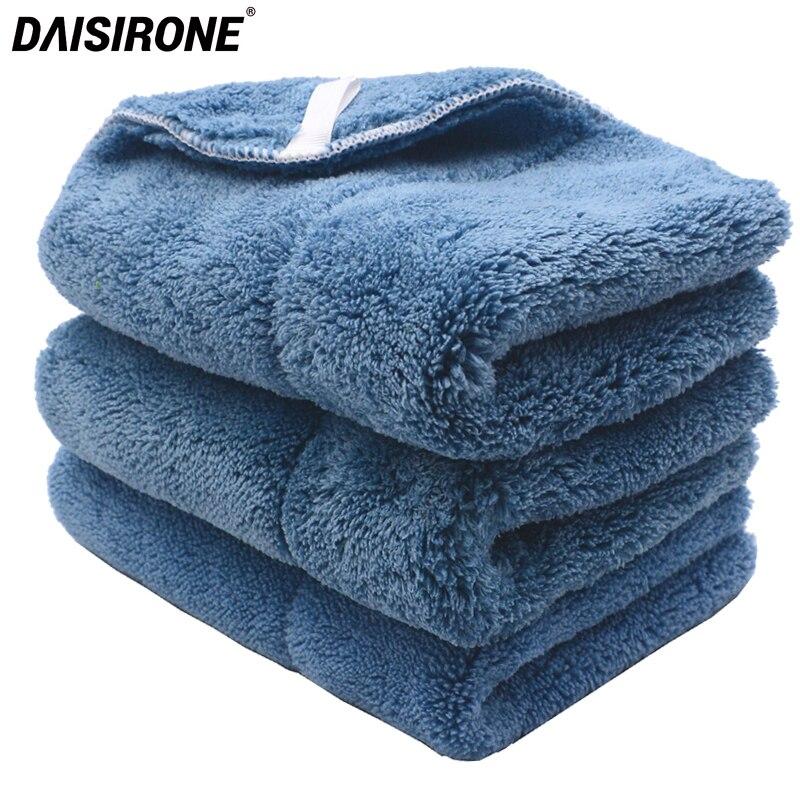 3PCS 820GSM Ultra-Thick Plush Microfiber Towels Car Cleaning Cloth Auto Wash Waxing Drying Polishing Detailing Lanyard Towel