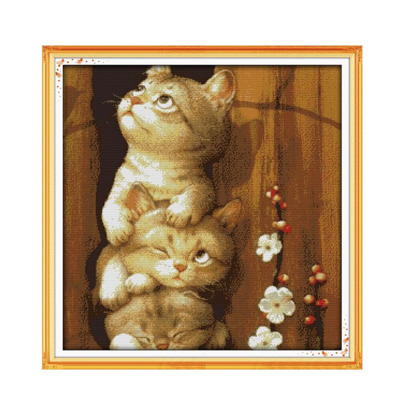 Cross-stitch Handmade Sewing Thread Fabric Embroidery Furniture Cross-stitching Paintings Fixing Prices According To Quality Of Products Package New Fashion Naughty Cats Substantial Cross Stitch Suit