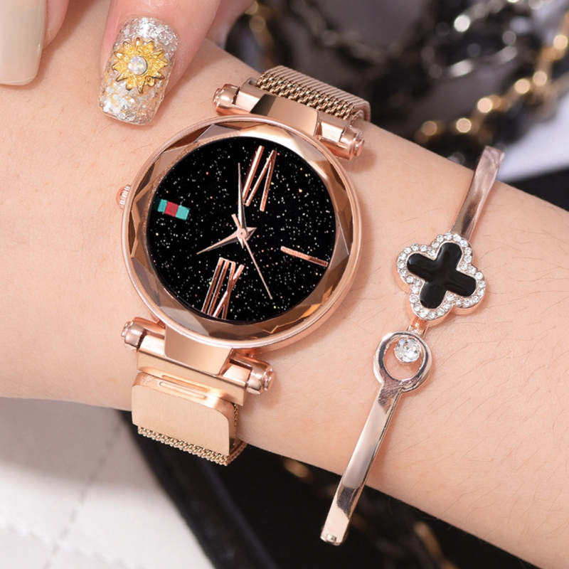 Luxury Rose Gold Women Bracelet Watches Minimalism Starry Sky Magnet Buckle Fashion Clock Roman Numeral Dial Ladies Wristwatch
