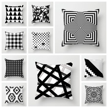 YVEVON Geometric Cushion Cover Black White Polyester Throw Pillow Case Striped Dotted Grid Triangular Couch Decor  45cm 18inch