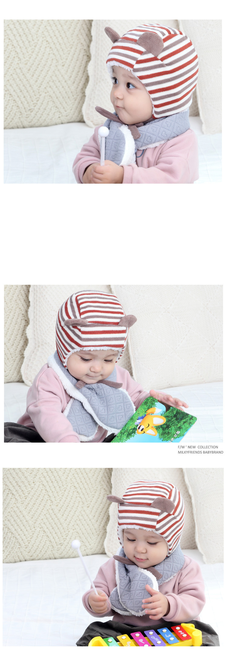 Emon children's winter baby bibs Warm Scarf Kid Heart Shape Pattern Baby boys girls Scarf Neck With Velvet Thickening muffle (9)