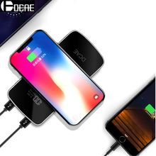 DCAE QI Wireless Charger Power Bank 10000mah Dual USB External Battery Powerbank Pad for iphone X 8 Samsung Galaxy S8 S9 Plus