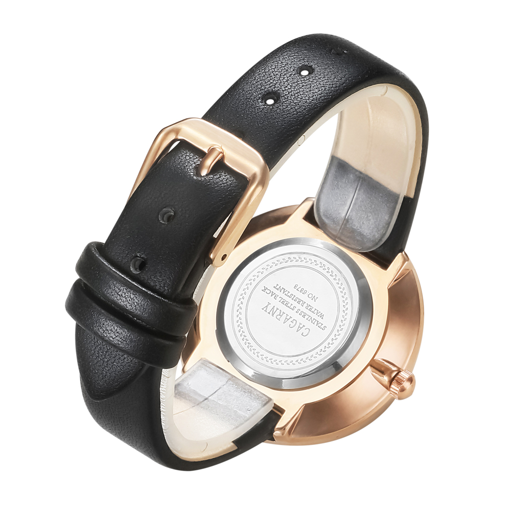 luxury brand quartz watch for women fashion ladies wristwatches rose gold case vogue leather strap with crystal free shipping (6)