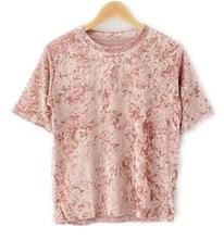 2017 femmes de mode de velours t-shirt harajuku punk rock t-shirts femmes  casual manches courtes velours top d été hippie vêteme. 8f0297d0e15