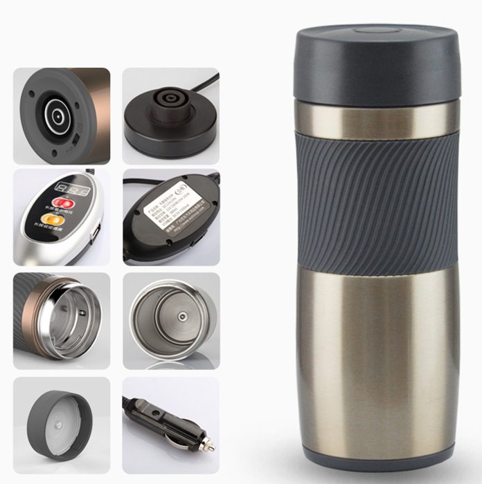 Acero inoxidable coche 12/24 voltios intercambiable eléctrico calor taza aislante portátil viaje taza de café apagado automático - 6