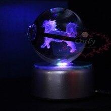 Venta caliente Nuevo Diseño Pokemon go Chasquido Entrenador Bola de Cristal láser 3D bola mágica con LED noche Basefor niños Luz de La Noche