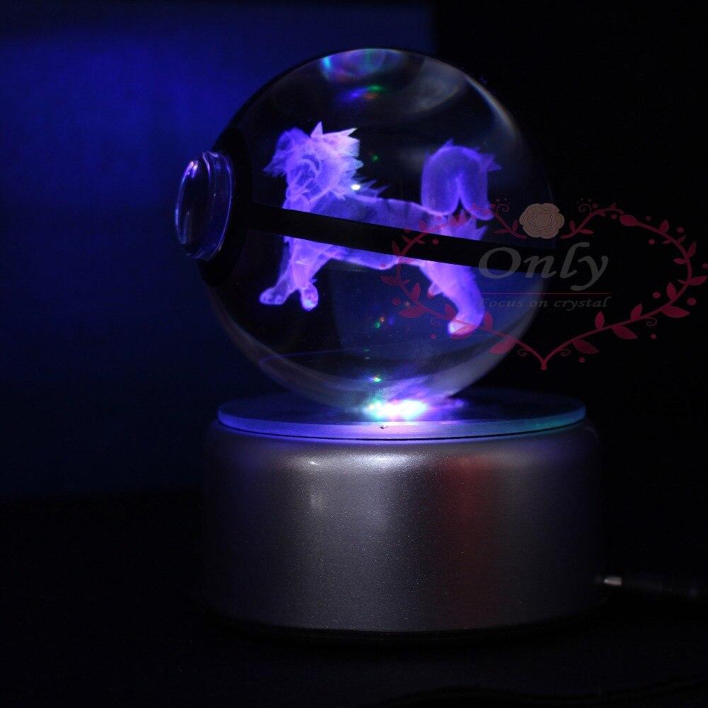 Hot selling New Design Pokemon go Snap Trainer Ball Crystal Glass 3D laser magic ball with LED night Basefor kids Night Light