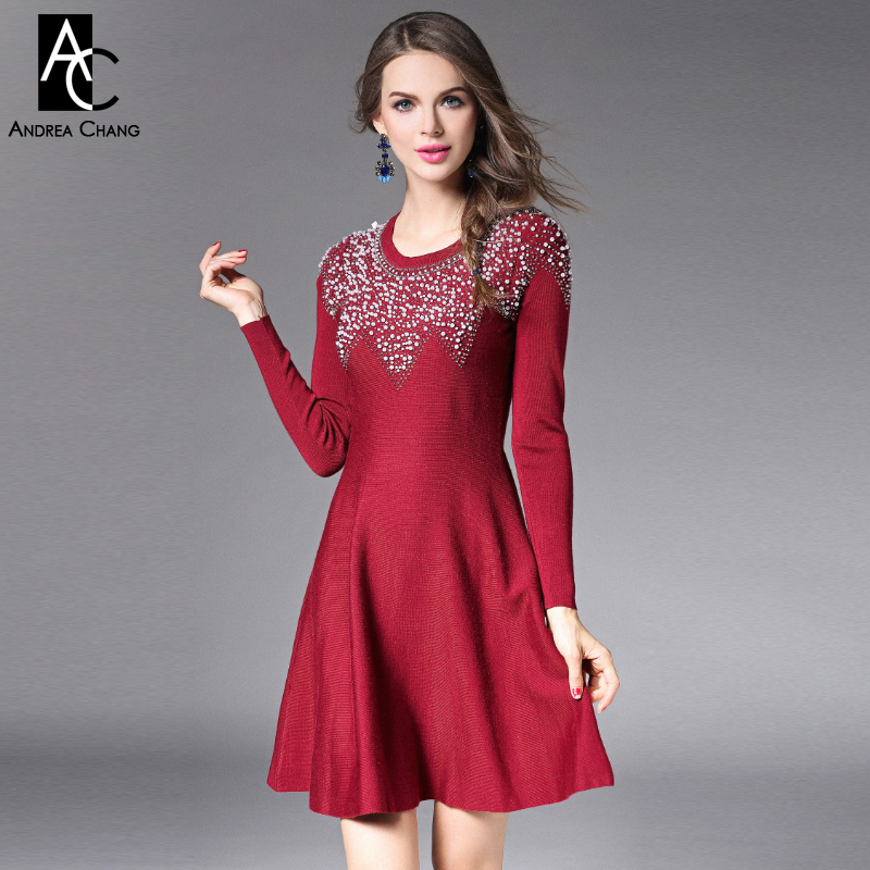 2015 autumn winter designer womens dresses black dark red knitted full sleeve pearl beading collar chest fashion brand dress spring autumn woman dress faux pearl rhinestone beading sleeve cuff knitted dress fashion vintage elastic black red party dress