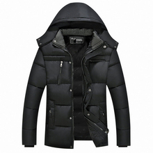XL-5XL Winter Jackets Men 2017 Middle-age Plus Size Casual Hooded Parka Warm Thickening Cotton-Padded Black Snow Cold Coat W38