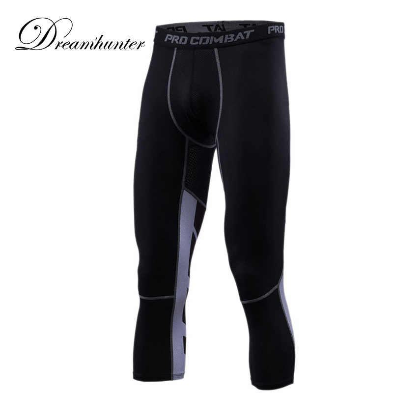 7279e0bd3e Elastic Mens Compression Running Leggings GYM Basketball Training Jogging 3/4  Pants Men Track Sweatpants